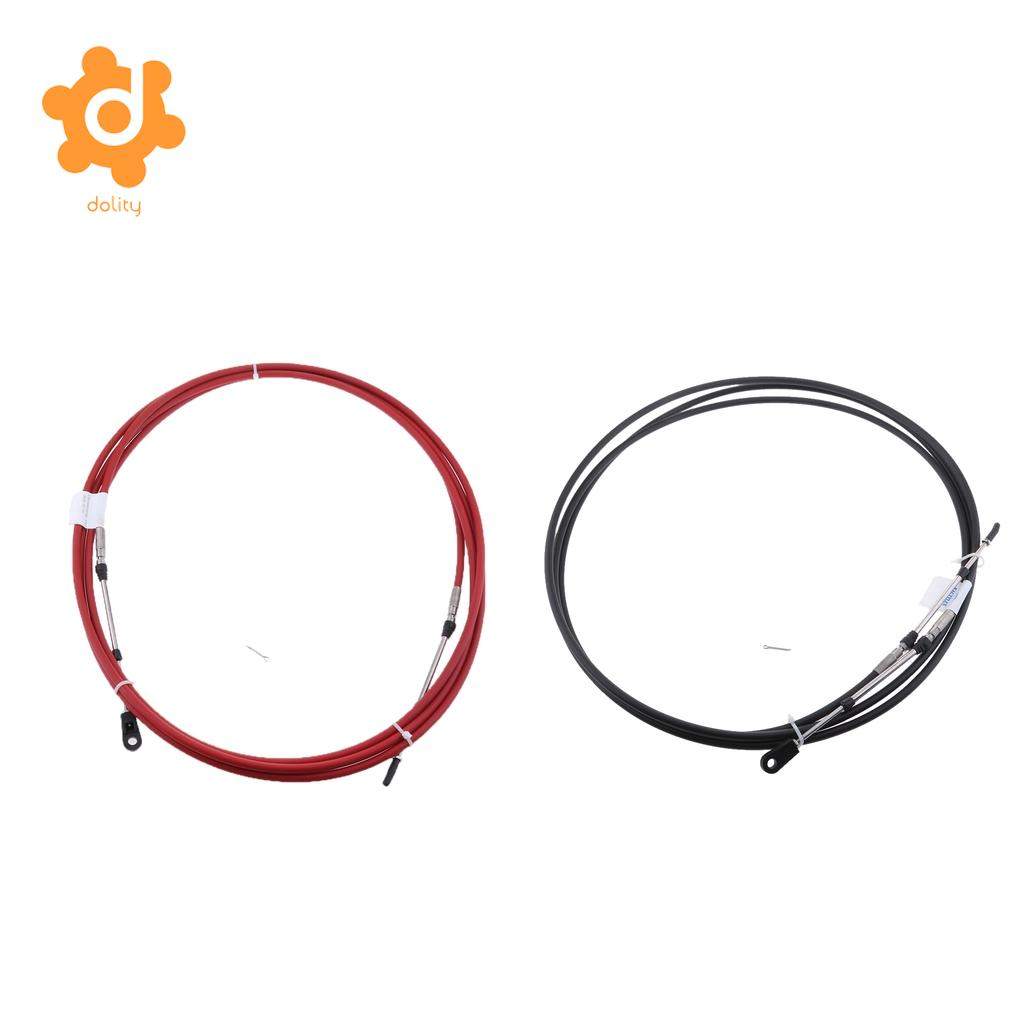 2 Pieces 23Ft Throttle/Shift Remote Control Cable for Yamaha Outboard Black & Red