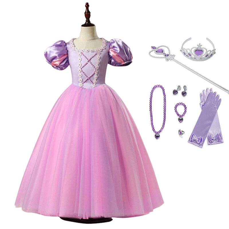 Haute qualité filles princesse raiponce robe Cosplay Costume lanterne manches robe de bal enfants Halloween anniversaire robe de bal