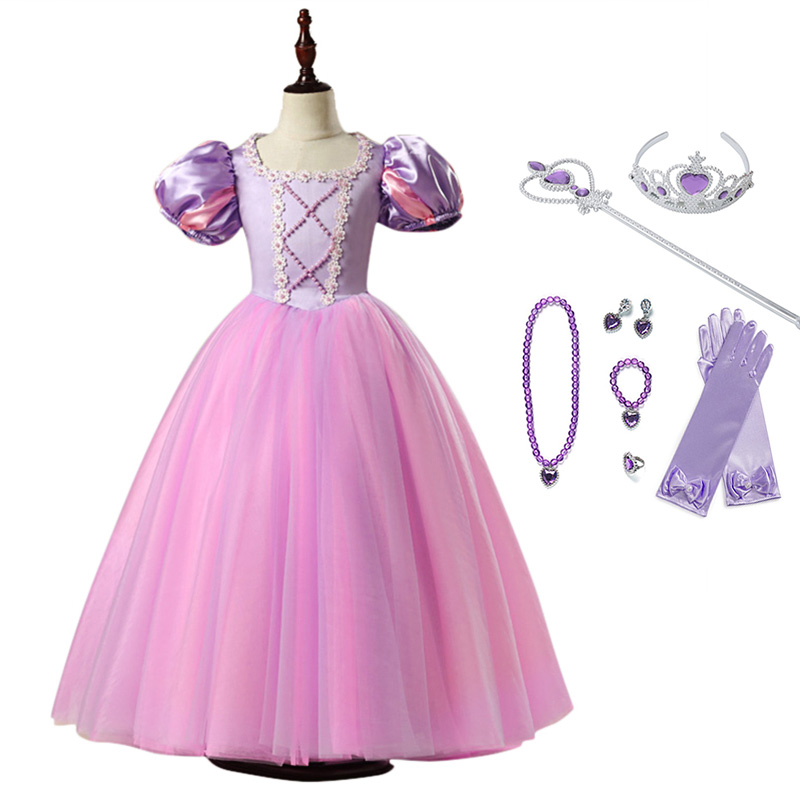 High-Quality Girls Princess Rapunzel Dress Cosplay Costume Lantern Sleeve Ball Gown Kids Halloween Birthday Prom Party Dress