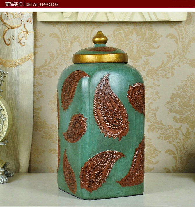 Household 30.5CM Green Resin Storage Can With Leaf Pattern Home Office Decor Cinnabar Ornaments Art Craft Decoration In 3 Color