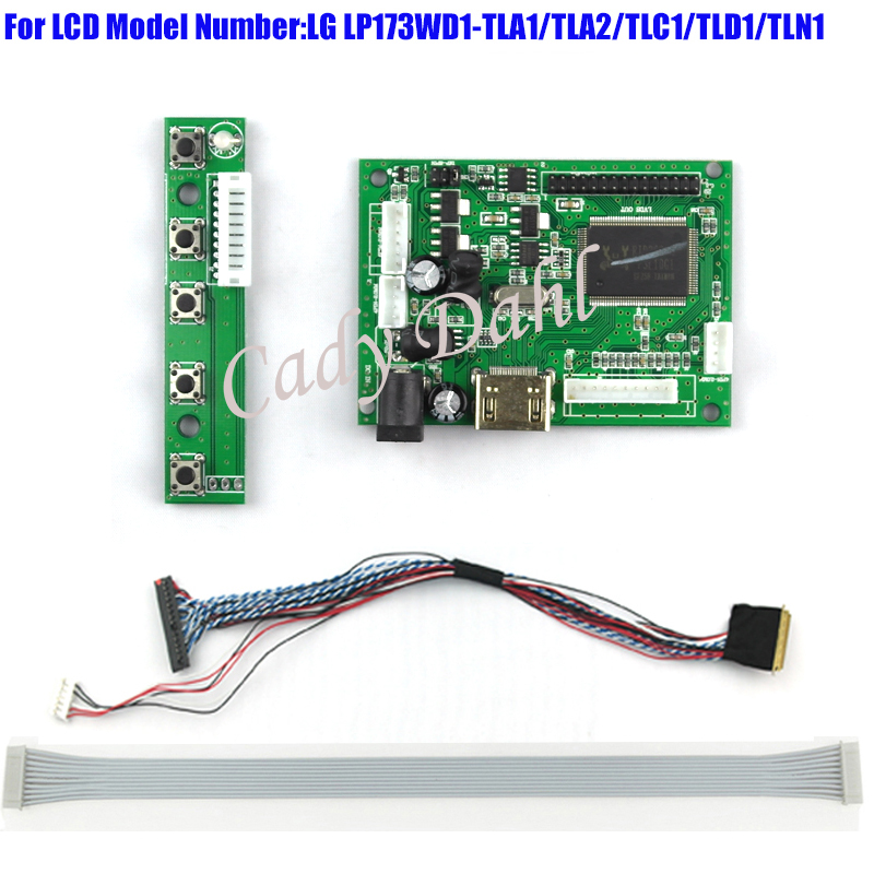 HDMI 30P LVDS Controller Board + 40 Pins Lvds Cable Kits for LP173WD1 - TLA1/TLC1/TLD1/TLN1 1600x900 2ch 6 bit LCD Display Panel manguera expandible