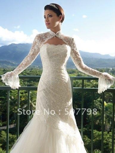 High Quality Lace Choker Wedding Accessories Jacket Bridal Bolero Coat Long Sleeves