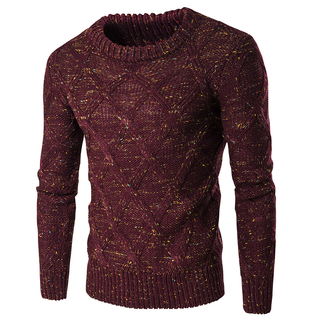 Men Casual Sweater Pullover Mens Autumn Round Neck Patchwork Quality Knit Mens Sweater