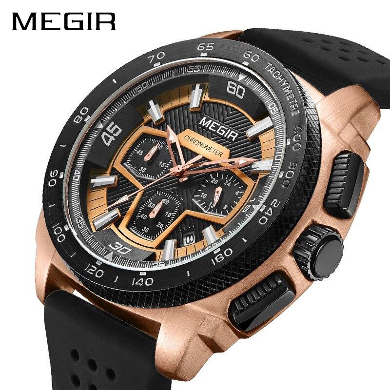 MEGIR Для Мужчин's Повседневное часы силиконовой лентой Водонепроницаемый военные Хронограф Спортивные часы Водонепроницаемый Наручные часы
