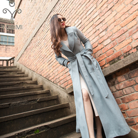 YOSIMI 2018 Autumn Winter Maxi Elegant Wool Long Women Coat Women Plus Size Coat Famale S XXL Coats and Jackets Female Blue Caot
