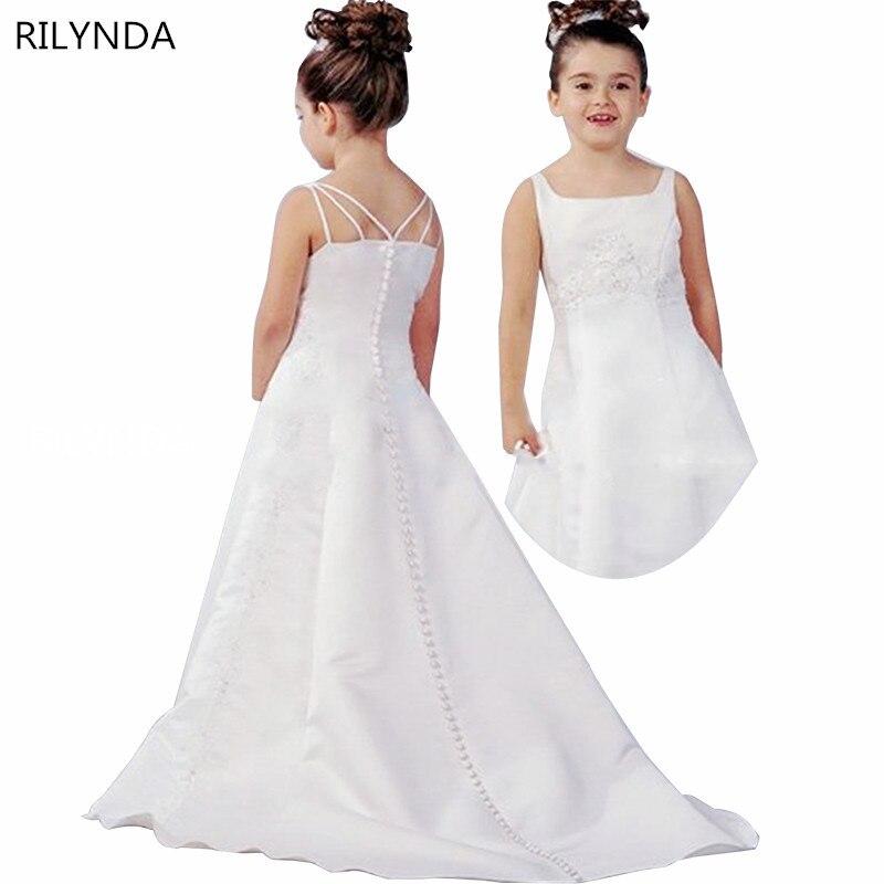 Ivoire sirène fleur fille robes haut bas Scoop sans manches étage longueur Satin Satin tissu robe de bal enfants robes de mariée