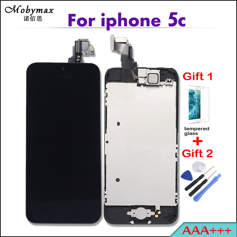 Mobymax Pantalla LCD Full Assembly For iPhone 5C Ecran Touch Screen Digitizer Display Complete+Home Button+Front Camera+Frame