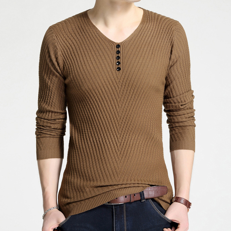 2018 New Sweaters Men Casual Botton Cool Design Autumn Winter Hot Sale Pull Homme Solid Knitted Sweater Men Fashion Clothing