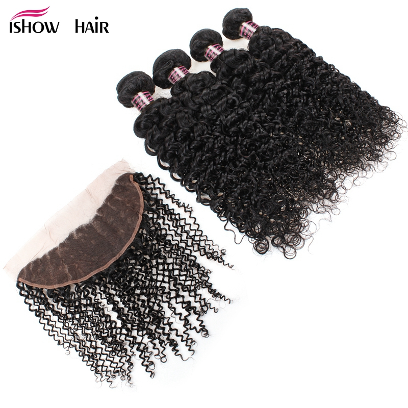 Ishow Brazilian Curly Hair Bundles With Frontal 100% Non Remy Human Hair Weave 4 Bundle Deals Lace Frontal Closure With Bundles