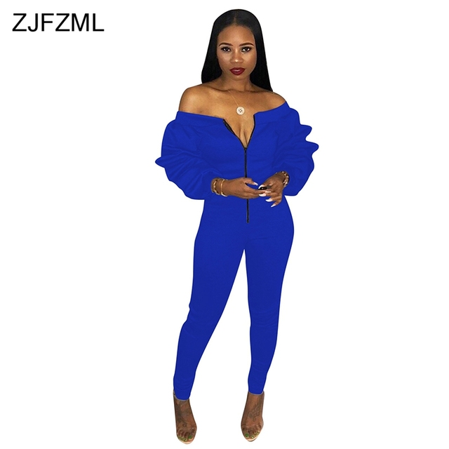59535a744f0ef ZJFZML Slash Neck Casual Plus Size Jumpsuits Women Long Puff Sleeve Off  Shoulder Thick Overall Autumn