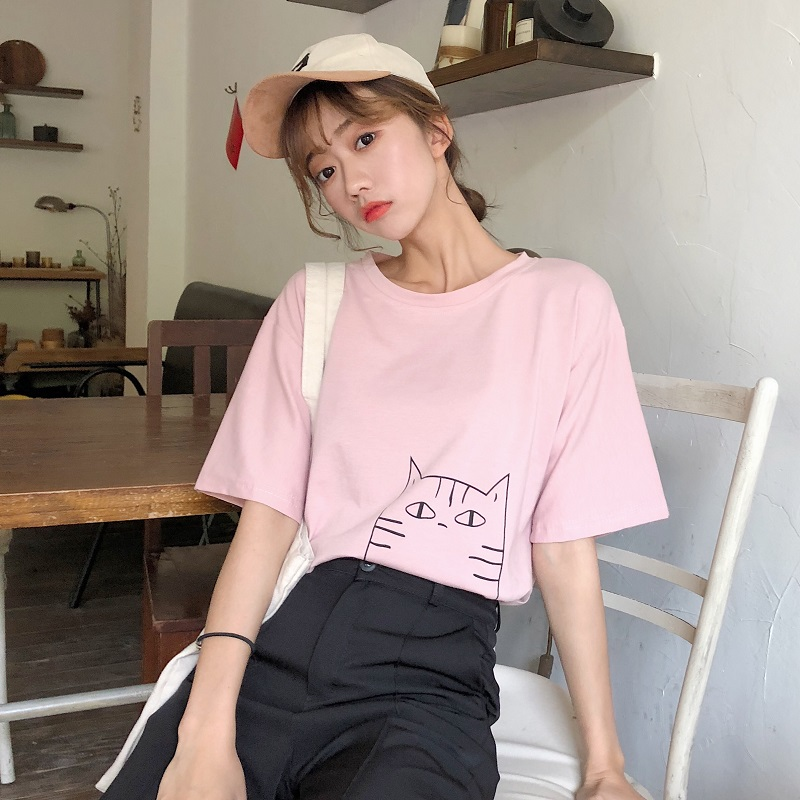 Kpop Summer Novelty Women T Shirt Harajuku Kawaii Cute Sweet Style Nice Cat Print T-shirt New Short Sleeve Tops Camisas Mujer