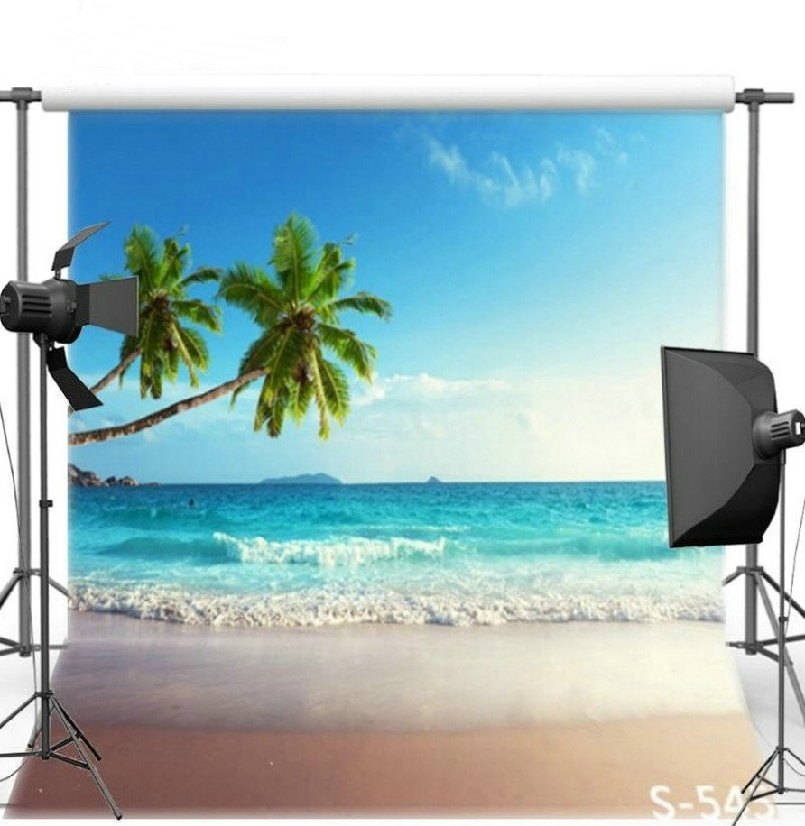Blue Sky White Clouds Ocean Sea Beach Palm Tree Backgrounds Vinyl cloth High quality Computer print wall Scenery backdrops
