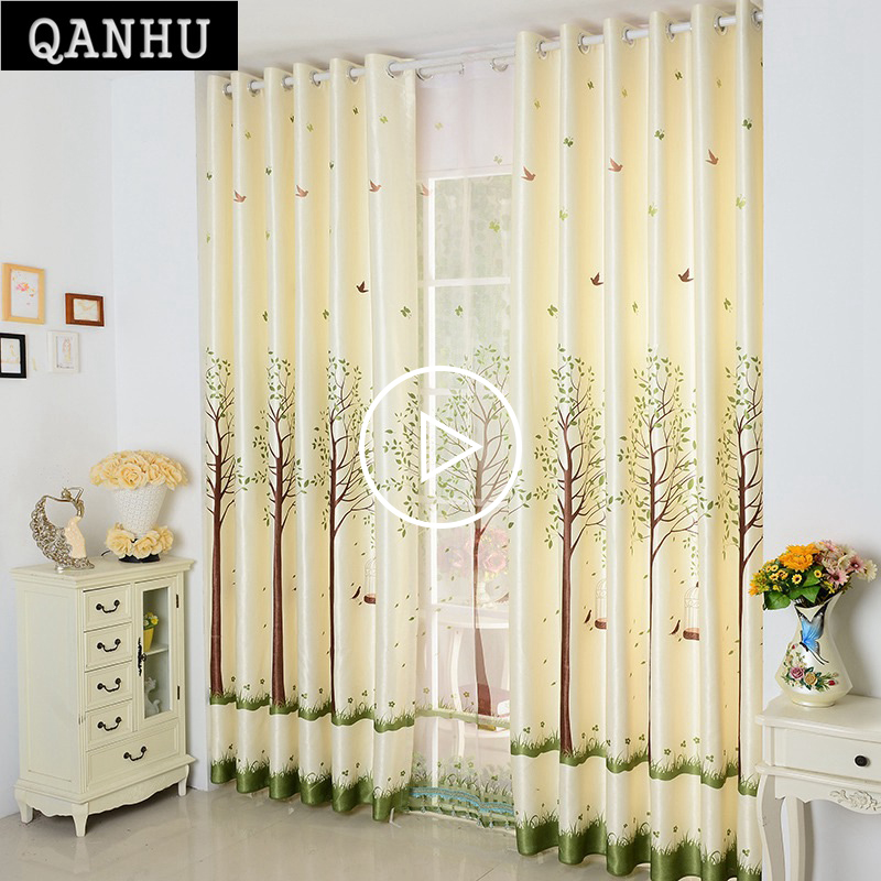 Qanhu Pastoral Curtains For Kitchen Light Yellow Landing