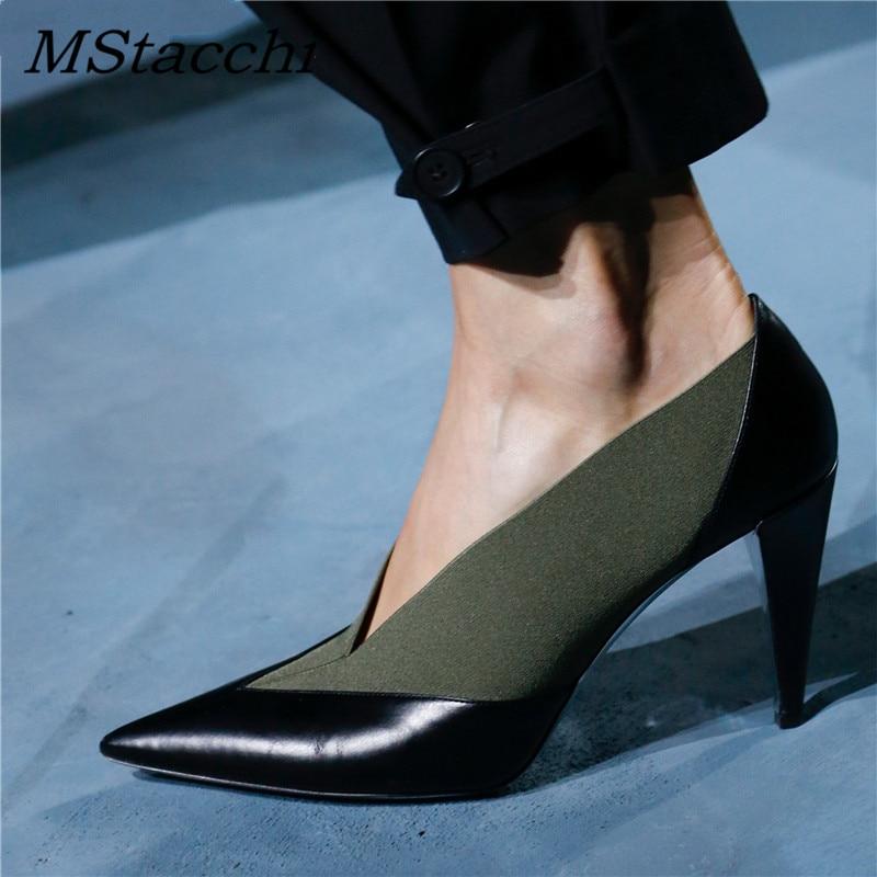 MStacchi 2019 nuevo tacón alto cuero tejido Patchwork señoras Oficina vestido zapatos mujer punta puntiaguda pista zapatos V Slip On zapatos-in Zapatos de tacón de mujer from zapatos    1