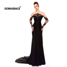 robe de soiree Real Photos Unique Design Long Sleeves Evening Dresses Prom Gowns Custom Made DGE034