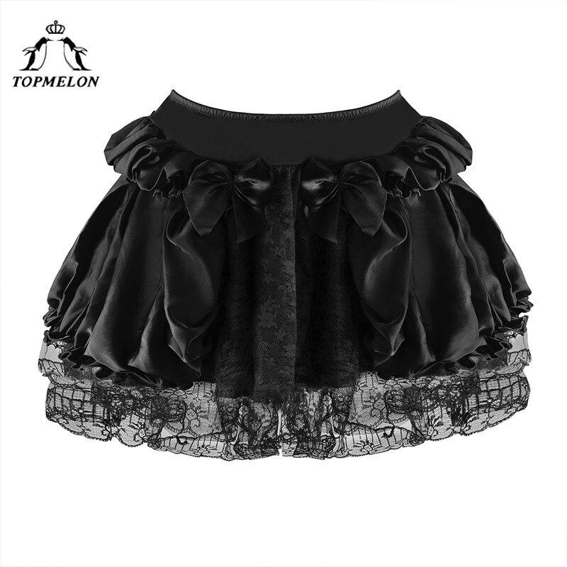 TOPMELON Women's Mini Skirt Summer Steampunk Gothic Skirt Female Black Lace Bow Bud Skirts Club Party Corset Short Skirts