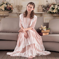 2017 Nova Moda Mulheres Lace Pijamas de Algodão Camisola Senhora Camisola Das Mulheres Doce Princesa vestido de Noite Desgaste Do Vestido Do Vintage