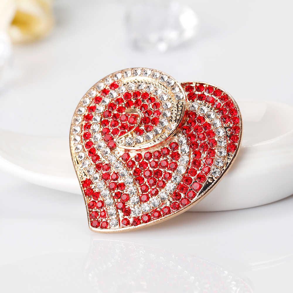 Danbihuabi Популярные Роскошные Большой Сердце белый и красный горный хрусталь яркий Броши золото Цвет эмаль для Для женщин Обувь для девочек корсаж партии/ свадебные