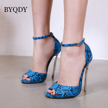BYQDY Ultra High Heels Pumps Stiletto Fish Mouth Ankle Strap Sandals Mary Jane Shoes Silver Russian Valentine Shoe Plus