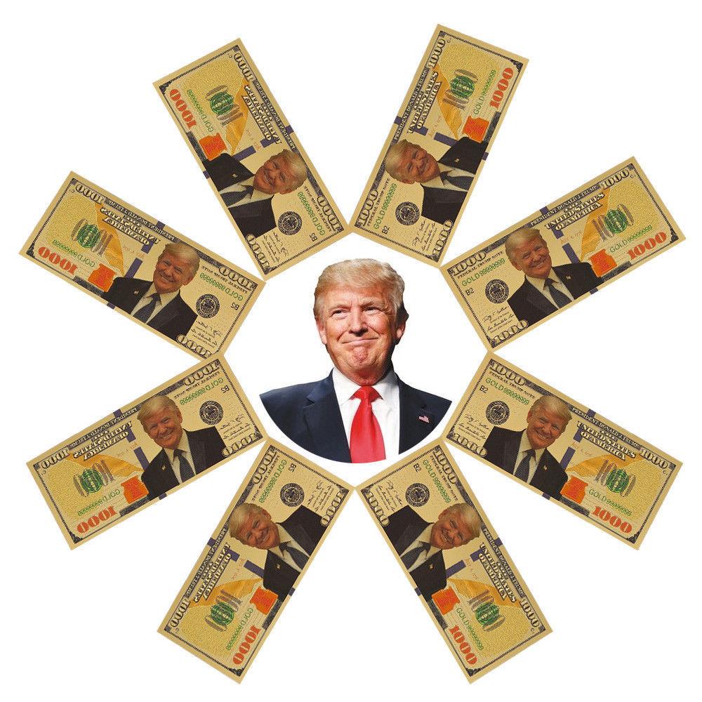 1pc/10pcs Promotion US President Donald Trump New Colorized $1000 Dollar Bill Gold Foil Banknote Trump Commemorative Fake Money