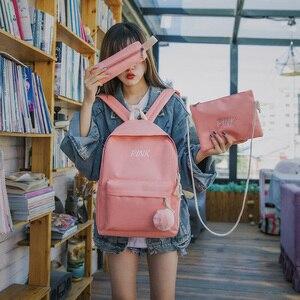Image 4 - Mochila de lona de 3 unidades para mujer, morral escolar en negro y rosa para chicas adolescentes