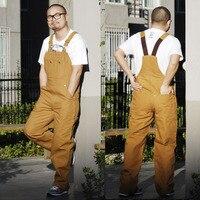 Mens Bib Overall Work Coveralls Fashion Vintage Locomotive Repairman Strap Jumpsuit Pants Work Uniform Thick Sleeveless