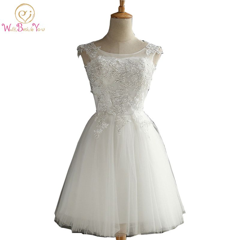 Walk Beside You Light Ivory   Cocktail     Dresses   Sleeveless Ball Gown Lace Applique Tulle Short Woman Coctel   Dresses   Vrstidos 2019