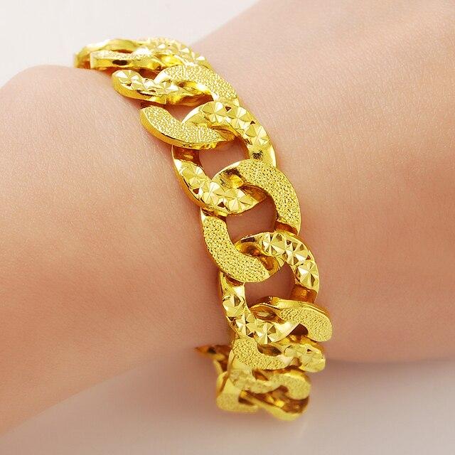 a9e5896736a3 Venta caliente mujeres hombres 24 K oro Circle enlace pulsera de cadena para  la fiesta aniversario encanto Popular joyería regalos