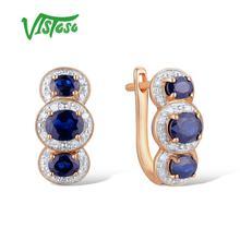 VISTOSO, Золотые серьги для женщин, 14 к, 585, розовое золото, сверкающий синий сапфир, бриллиант, обручальное кольцо, роскошные ювелирные изделия для помолвки