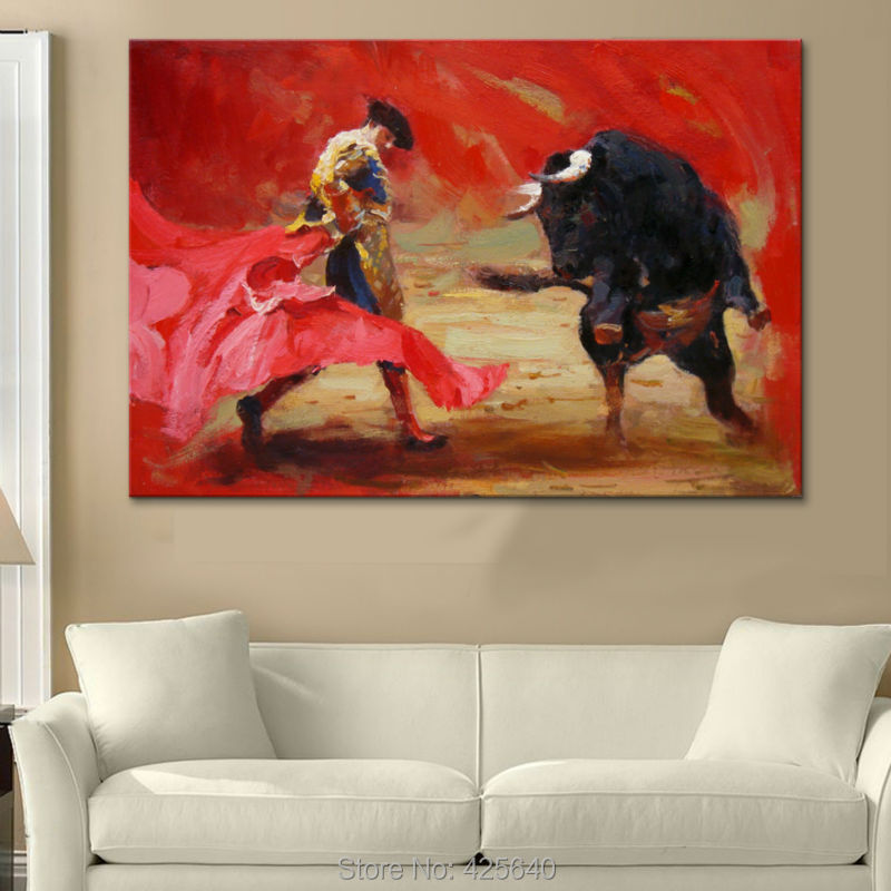Hand-painted The Matador canvas painting pictures on the wall painting canvas sitting room wall art canvas the bulls wallpaperHand-painted The Matador canvas painting pictures on the wall painting canvas sitting room wall art canvas the bulls wallpaper