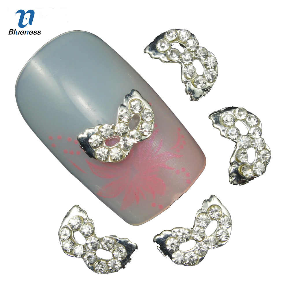Blueness 10Pcs 3D Nail Bows Art Decorations with Rhinestones ,Alloy Nail Charms,Jewelry On Nails Salon Supplies TN583