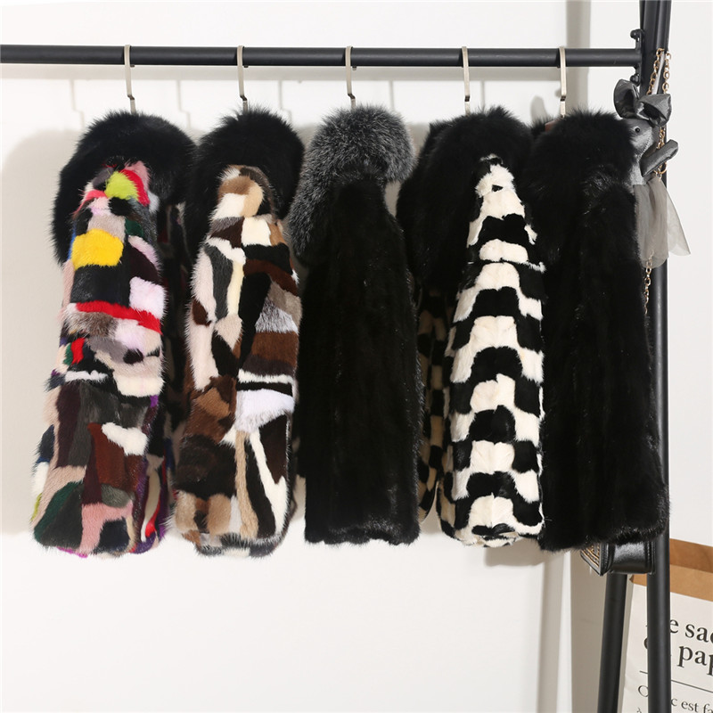 Color Block Real Mink Fur Coats Outerwear Women's Natural Fox Fur Collar Jackets Female Genuine Fur Jacket for Autumn and Winter