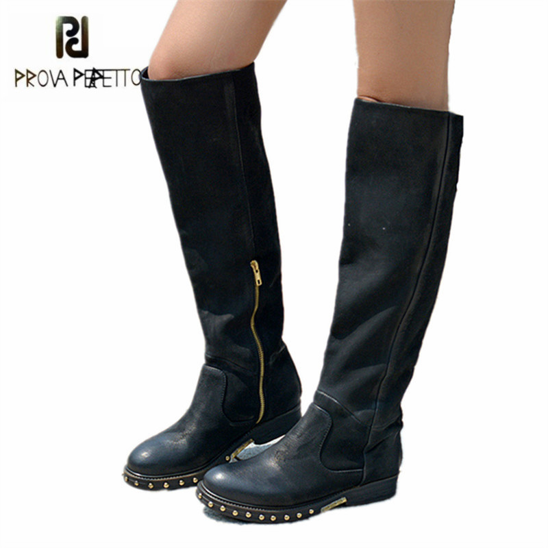 Prova Perfetto Black Women Knee High Boots Rivets Studded Autumn Women High Boots Genuine Leather Botas Mujer Rubber Shoes Woman prova perfetto black handmade women genuine leather mid calf boots buckle straps martin boots women platform rubber shoes woman