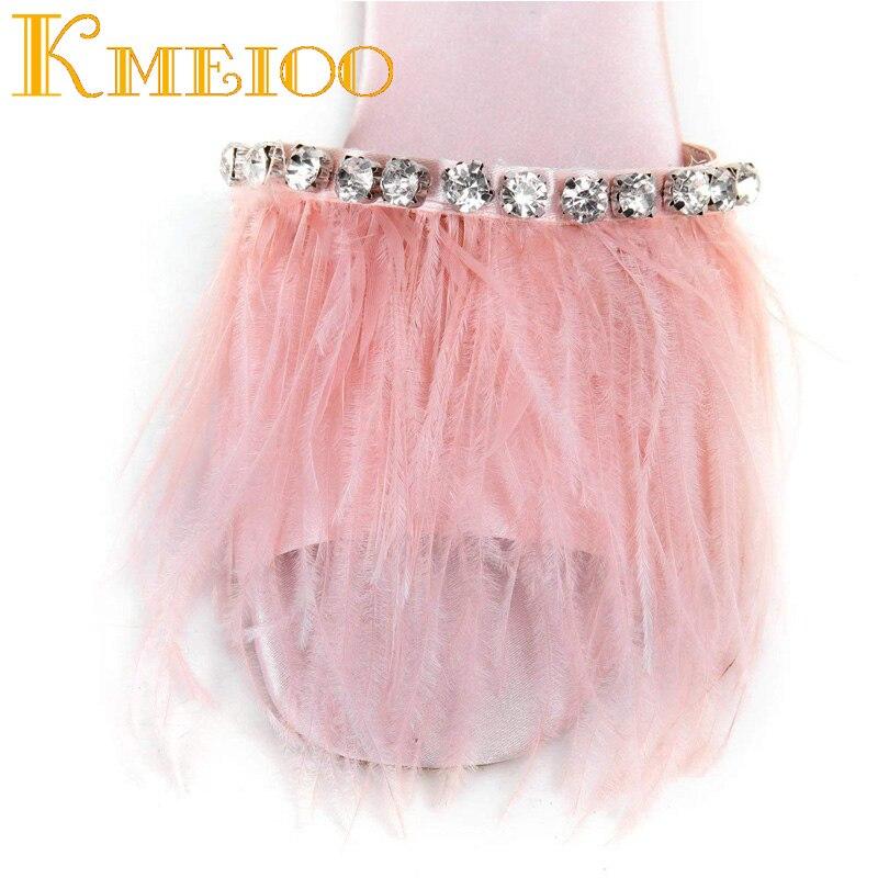 grey Bijou 15 Cristal Pink D'été white Causal 2018 Strass Dames Chaussures black Appartements 5 Femmes Diapositives Kmeioo Pantoufles Plume Faux Pompon Nous qvHxwCt4