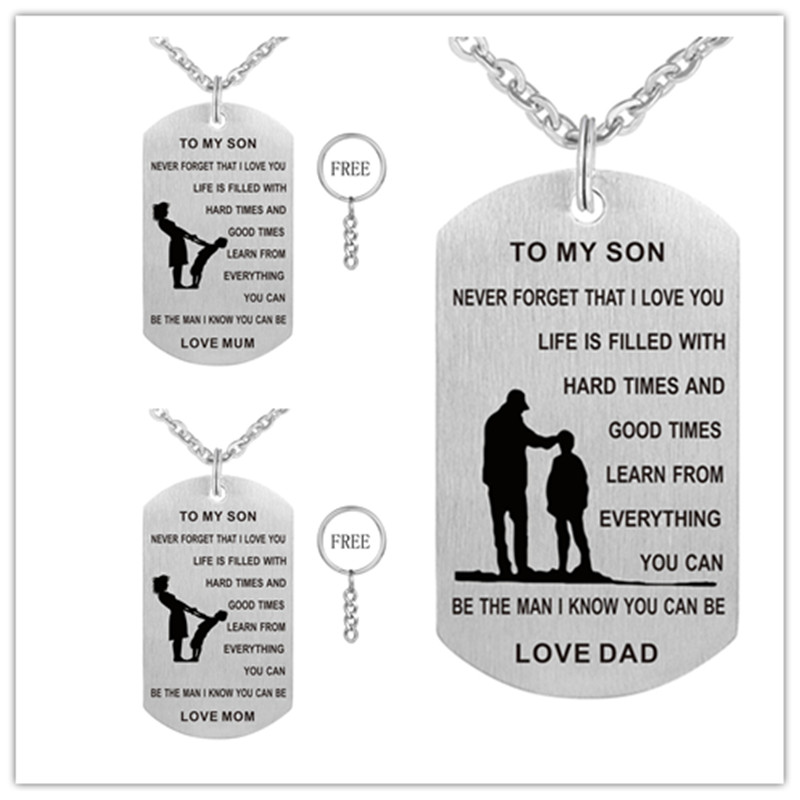 Stainless Steel Dog Tag Pendant Necklaces for  DAD & MOM  TO MY SON  Inspirational Jewelry Charms Birthday Gifts