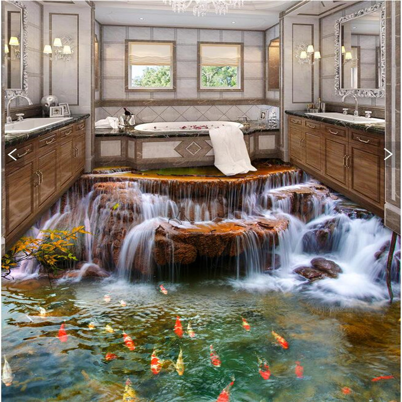 Custom floor 3d wallpaper river water carp bathroom floor for Bathroom floor mural