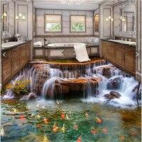 Custom Photo Floor 3D Wallpaper River Water Carp Bathroom Floor Mural 3d PVC Wallpaper Self Adhesive