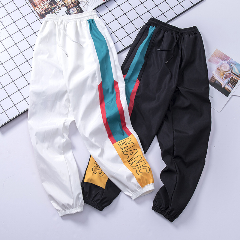 Harem-Pants Waist-Trousers Patchwork Streetwear Hip-Hop Casual Fashion Men Drawstring