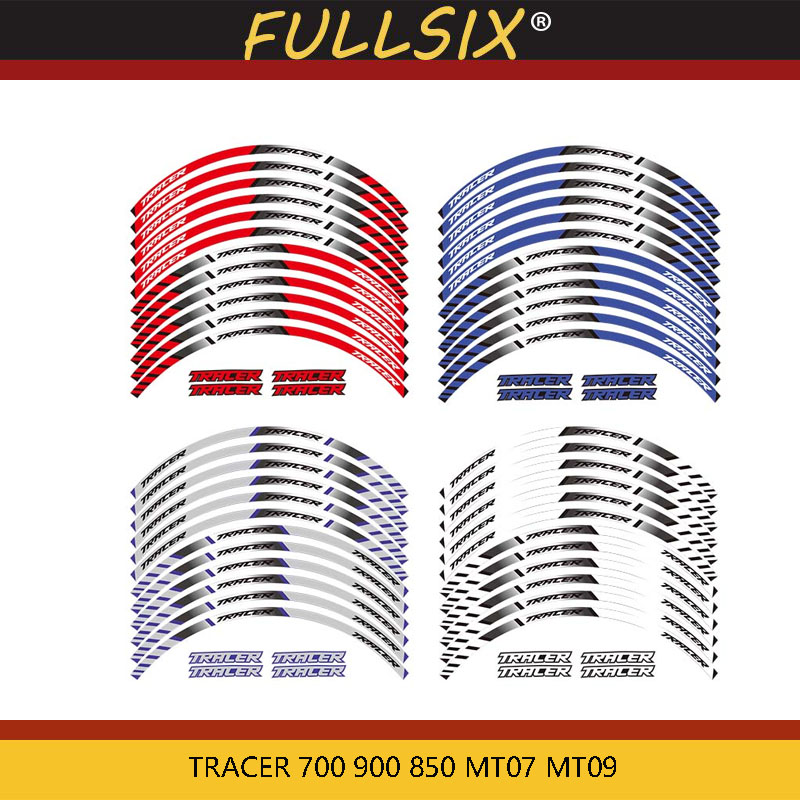 12 X Thick Edge Outer Rim Sticker Stripe Wheel Decals For YAMAHA TRACER 700 900 850 MT07 MT09 MT-07 MT-09