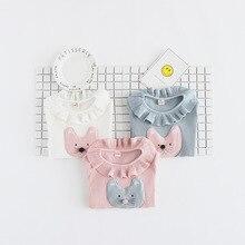 Baby Girls Lace Collar Bottoming Shirt,kids Girl Pure Cotton Kitten Long Sleeve T-shirt Sweaters Shirts, Children Clothing
