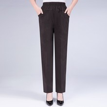 Fashion Straight Pants 2019 Summer Autumn High Elastic Waist Workwear Trousers Women Solid Color Ladies Pants Plus Size 2019 summer autumn women pants elastic waist solid color pants casual straight high waist pants trousers plus size xl 5xl