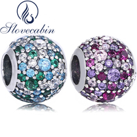 Slovecabin Pave 925 Sterling Silver Ocean Mosaic Ball Bead Charm With Crystal For Jewelry Making Fit