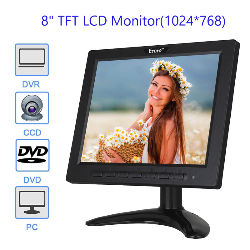 EYOYO 808H Ultra-thin 8 inch LCD Monitor Screen with AV BNC VGA USB HDMI Interface deo 4:3 for CCTV DVR Security 8 inch lcd monitor color screen bnc tv av vga hd remote control for pc cctv computer game security