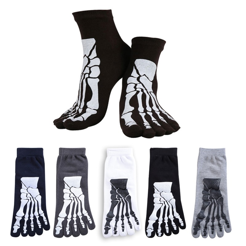 5 colors Punk Rock Unisex 3D print terror skeleton toe   socks   Hip Hop scary skull five finger odd sox bone short   socks
