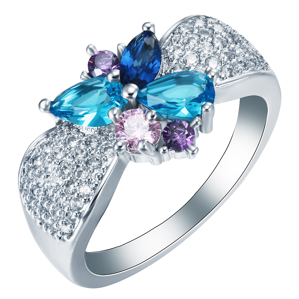 Butterfly silver color ring Jewelry Beautiful Shiny Design Blue purple white zircon for women new luxury Party wedding rings
