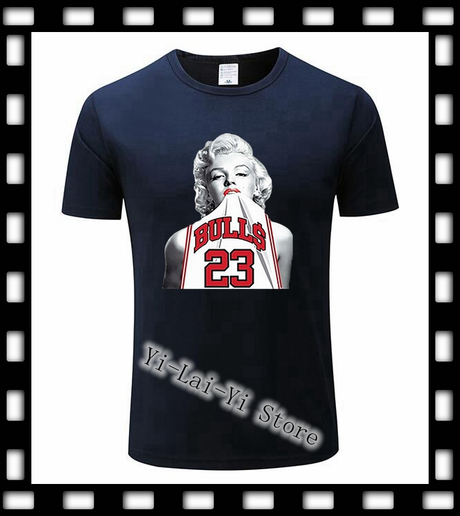 New Marilyn Monroe Wearing Michael 23 Basketballer Jersey <font><b>Funny</b></font> Men's TShirts Cool <font><b>Sex</b></font> Hipster Top Tee <font><b>T</b></font> <font><b>Shirt</b></font> Men Women TShirt image