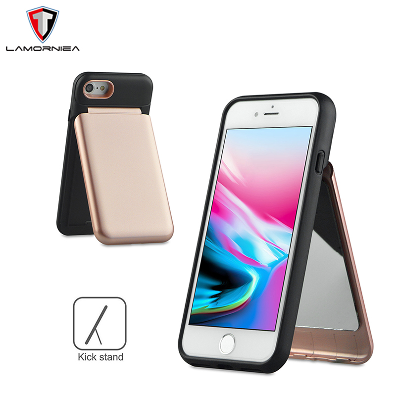 Lamorniea Mirror Case For iPhone X 7 8 6 6S Plus Wallet+Card Slot Cover Makeup Phone Case For Samsung Note 8 S8 Plus Woman Case