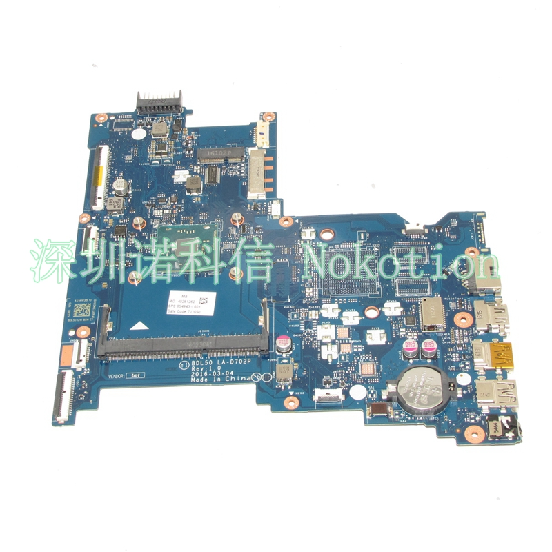 NOKOTION 854943-601 854943-001 Laptop motherboard for HP 15-AY BDL50 LA-D702P 250 G5 SR2KL N3710 cpu Mainboard 766713 501 766713 001 for hp beats 15z p 15p 15 p laptop motherboard day23amb6f0 a8 5545m 1 70ghz cpu ddr3