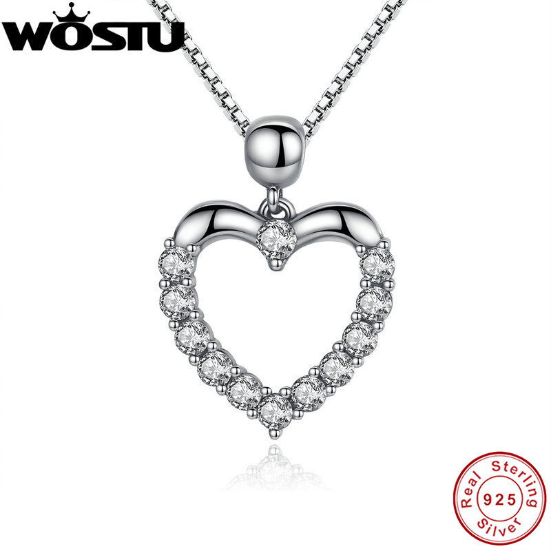 WOSTU 2018 Luxury Brand 925 Sterling Silver Heart Love Pendant Necklaces for Women With AAA Zircon Jewelry Gift For Lover CQN025 wostu 2018 luxury brand 925 sterling silver heart love pendant necklaces for women with aaa zircon jewelry gift for lover cqn025