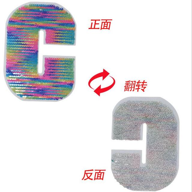 eb38c3482 Rainbow Letter C Reversible change color Sequins Sew On Patches for clothes  DIY Patch Applique Bag Clothing Coat Sweater Crafts